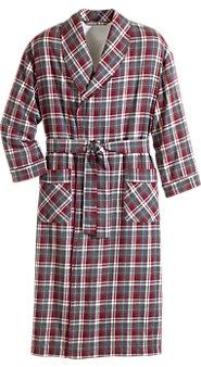 Men's Fleece-Lined Flannel Wrap Robe