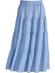 4-Tiered Chambray Skirt