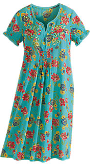 April Cornell Turquoise Floral Nightgown