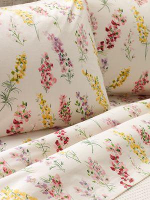 Portuguese Cotton Sheet Set Watercolor Floral Print Sheets