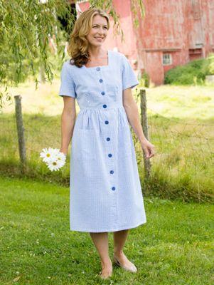 Stripe Button Front Summer Dress Lightweight Cotton