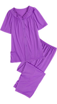 Women's Shadowline Short-Sleeve Nylon PJs: