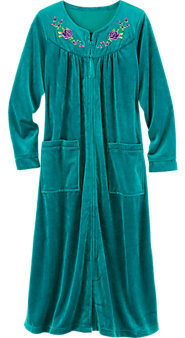 Women's Embroidered Velour Robe: