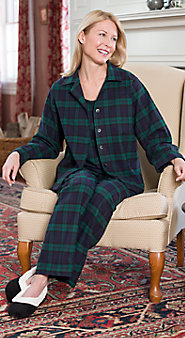 Womens 3 Piece Flannel Pajama Set