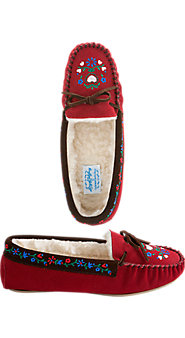 Womens Lanz Tyrolean Suede Moccasin Slipper