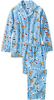 Womens Dog Print Flannel Pajamas
