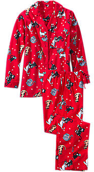 Womens Cat Print Flannel Pajamas