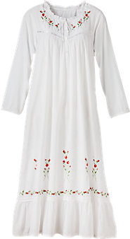 Winter Rose Embroidered White Cotton Nightgown