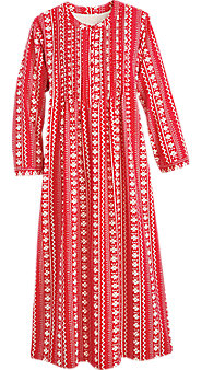 Womens Nordic Snowflake Flannel Nightgown