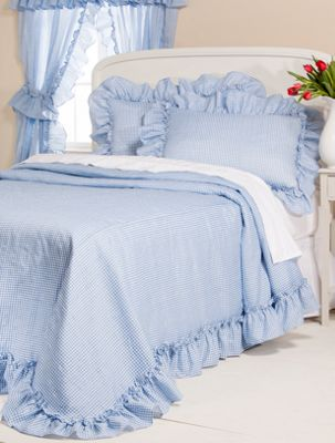 Gingham Plisse Bedspread No Iron Bedcover With Ruffled Hem