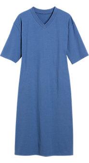 Men's V-Neck Short-Sleeve Cotton Knit Sleepshirt