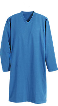V Neck Long Sleeve Cotton Knit Sleepshirt