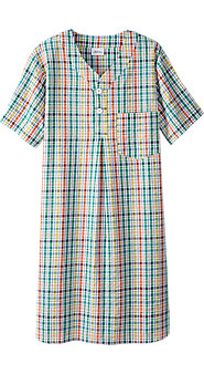 Mens Perfectly Plaid Seersucker Nightshirt