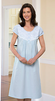 Womens Percale Capped Sleeve Nightgown