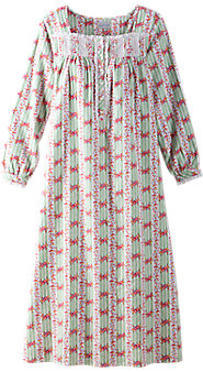 Womens Lanz Cottage Rose Flannel Nightgown