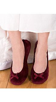 Womens Velour Ballerina Flats