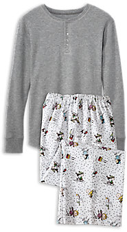 Mens Peanuts Snow Fun Henley Top Pajamas