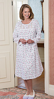 Eileen West Winter Blossom Flannel Nightgown