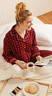 Womens Lanz Flannel Buffalo Check Pajamas