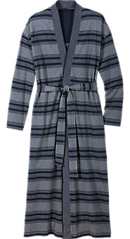 Mens Striped Cotton Pique Wrap Robe