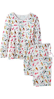 Womens Cotton Knit Cat Print Pajamas