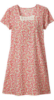Womens Floral and Lace Cotton Poplin Nightgown