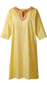 Womens Daisy Print Embroidered Cotton Nightgown
