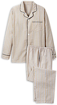 Mens Striped Seersucker Pajamas