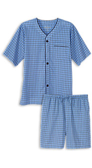 Mens Seacoast Blue Madras Plaid Shortie Pajamas