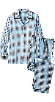 Mens Ice Blue Classic Cotton Pajamas