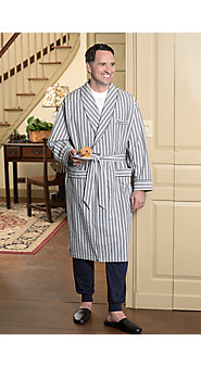 Mens Seersucker Bathrobe