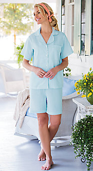 Womens Seersucker Shortie Pajamas