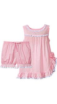 Womens Eyelet Ruffle Baby Doll Pajamas