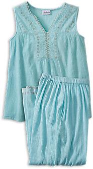 Womens Embroidered Cotton Gauze Pajamas