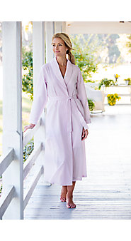 Womens Seersucker Bathrobe