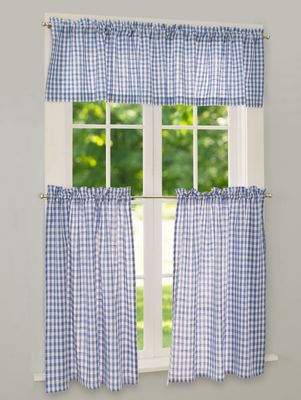 Gingham Tier Curtains Checkered Window Panels
