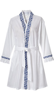 Eileen West Embroidered Navy Wrap Robe