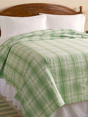 Plaid Seersucker Bedspread Lightweight Cotton Bedding