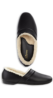 Shearling Lined Leather Slippers