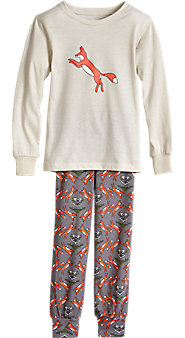 Gray Fox Pajama Set For Kids