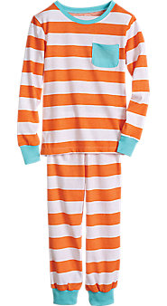 Orange Stripe Pajama Set For Kids
