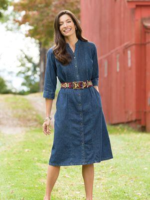 Pintuck Denim Dress Womens Tunic Dress