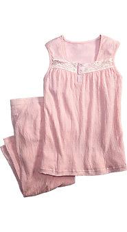 Womens Knit Gauze Tank and Capri Pajama Set