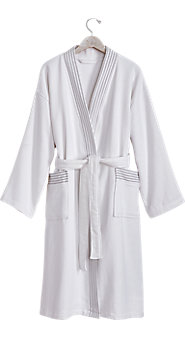 Womens Double Faced Terry Spa Robe With Grey Stripe Trim