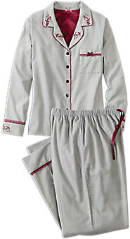 Embroidered Flannel Pajama Set