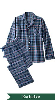 Mens Orton Plaid Button Front Pajamas