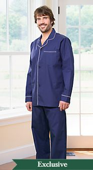 Mens Cotton Broadcloth Button Front Pajamas
