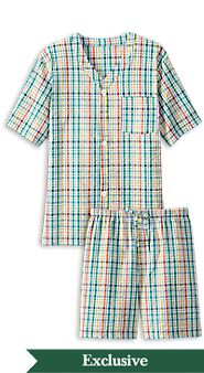 Mens Perfectly Plaid Seersucker Shortie Pajamas