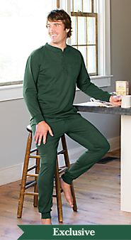 Mens Cotton Knit Ski Pajamas