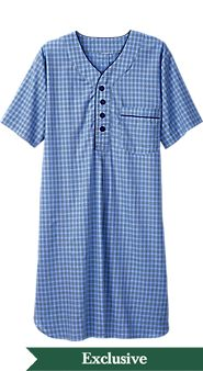 Mens Madras Plaid Nightshirt